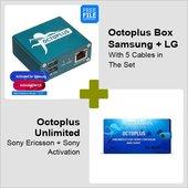 Octoplus Box Samsung + LG con juego de cables 5 en 1 + activación Octoplus Unlimited para Sony/Sony Ericsson